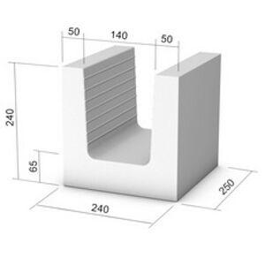 Vápenno-pieskový prvok, U-profil KMB SENDWIX 8DF-U (240x240x238 mm)
