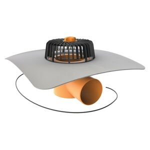 Vyhrievaný vodorovný strešný vtok TWE 75 PVC V s integrovanou PVC manžetou